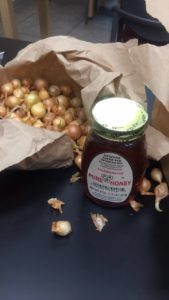 Onion bulbs and local honey from Nickel Plate Mills